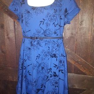 City Chic Blue Dress w/ Black Floral Design L/20
